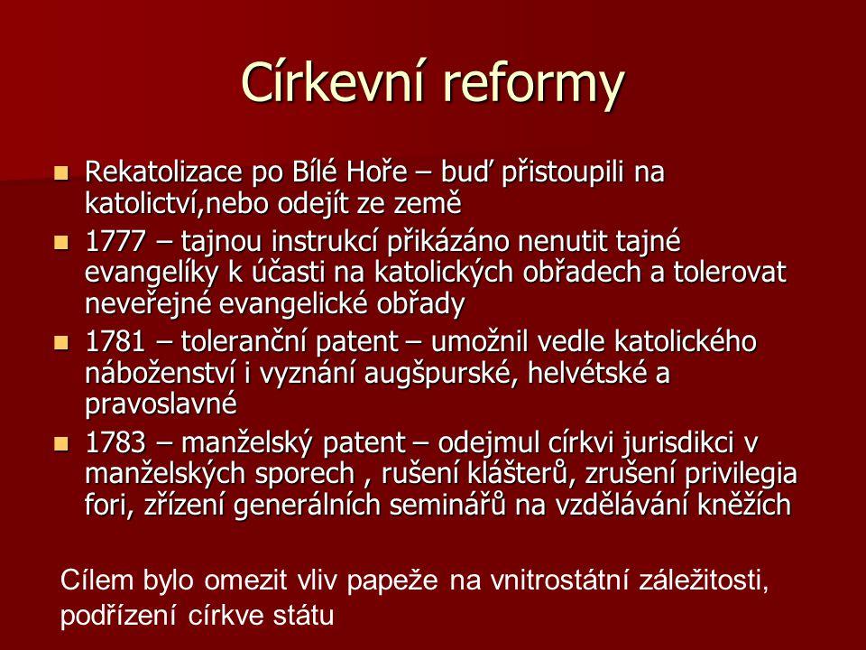 Církevní reformy Rekatolizace po Bílé Hoře – buď přistoupili na katolictví,nebo odejít ze země Rekatolizace po Bílé Hoře – buď přistoupili na katolict