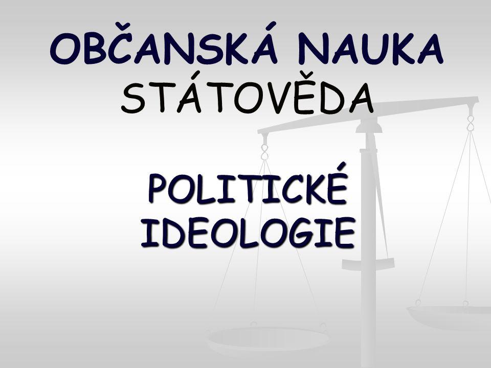 POLITICKÉ IDEOLOGIE OBČANSKÁ NAUKA STÁTOVĚDA POLITICKÉ IDEOLOGIE