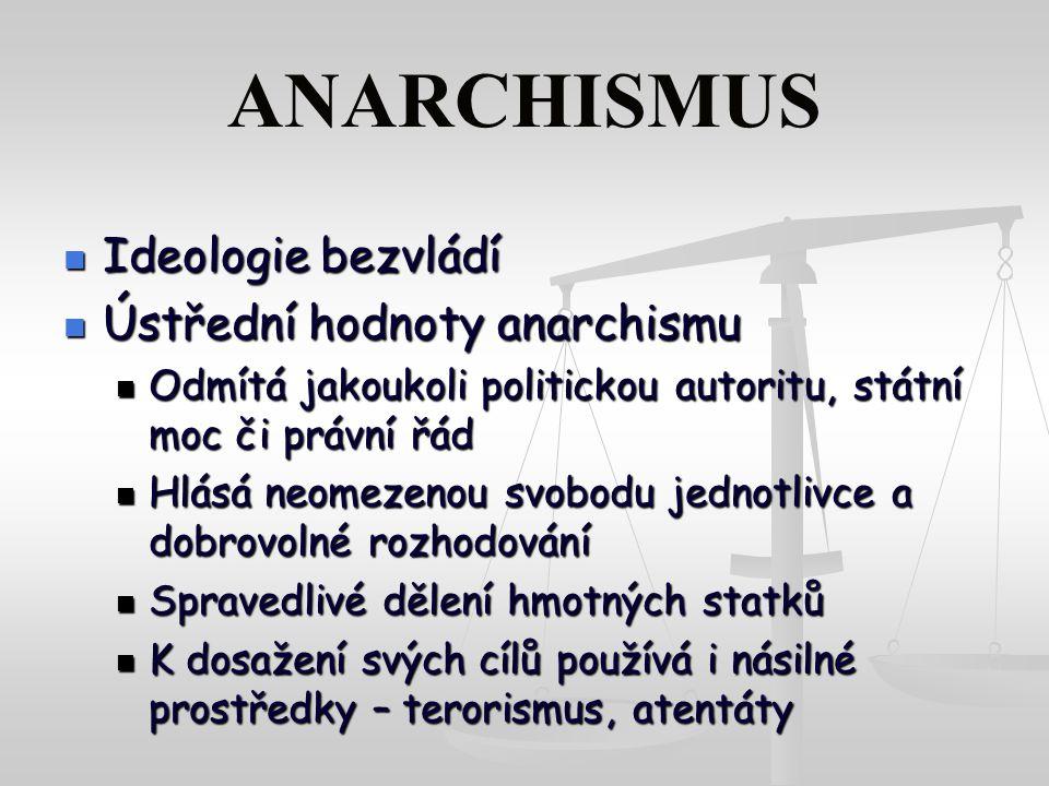 ANARCHISMUS Ideologie bezvládí Ideologie bezvládí Ústřední hodnoty anarchismu Ústřední hodnoty anarchismu Odmítá jakoukoli politickou autoritu, státní moc či právní řád Odmítá jakoukoli politickou autoritu, státní moc či právní řád Hlásá neomezenou svobodu jednotlivce a dobrovolné rozhodování Hlásá neomezenou svobodu jednotlivce a dobrovolné rozhodování Spravedlivé dělení hmotných statků Spravedlivé dělení hmotných statků K dosažení svých cílů používá i násilné prostředky – terorismus, atentáty K dosažení svých cílů používá i násilné prostředky – terorismus, atentáty