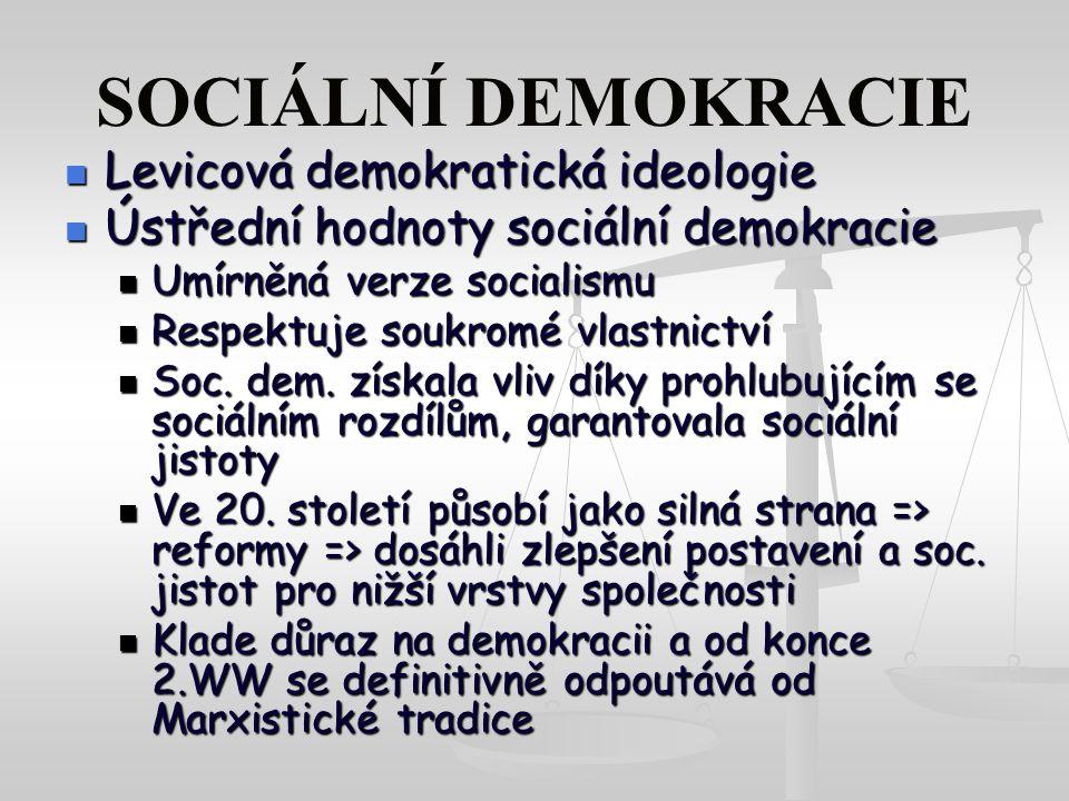 SOCIÁLNÍ DEMOKRACIE Levicová demokratická ideologie Levicová demokratická ideologie Ústřední hodnoty sociální demokracie Ústřední hodnoty sociální demokracie Umírněná verze socialismu Umírněná verze socialismu Respektuje soukromé vlastnictví Respektuje soukromé vlastnictví Soc.