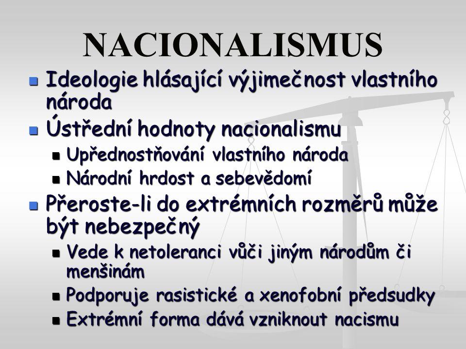 NACIONALISMUS Ideologie hlásající výjimečnost vlastního národa Ideologie hlásající výjimečnost vlastního národa Ústřední hodnoty nacionalismu Ústřední hodnoty nacionalismu Upřednostňování vlastního národa Upřednostňování vlastního národa Národní hrdost a sebevědomí Národní hrdost a sebevědomí Přeroste-li do extrémních rozměrů může být nebezpečný Přeroste-li do extrémních rozměrů může být nebezpečný Vede k netoleranci vůči jiným národům či menšinám Vede k netoleranci vůči jiným národům či menšinám Podporuje rasistické a xenofobní předsudky Podporuje rasistické a xenofobní předsudky Extrémní forma dává vzniknout nacismu Extrémní forma dává vzniknout nacismu