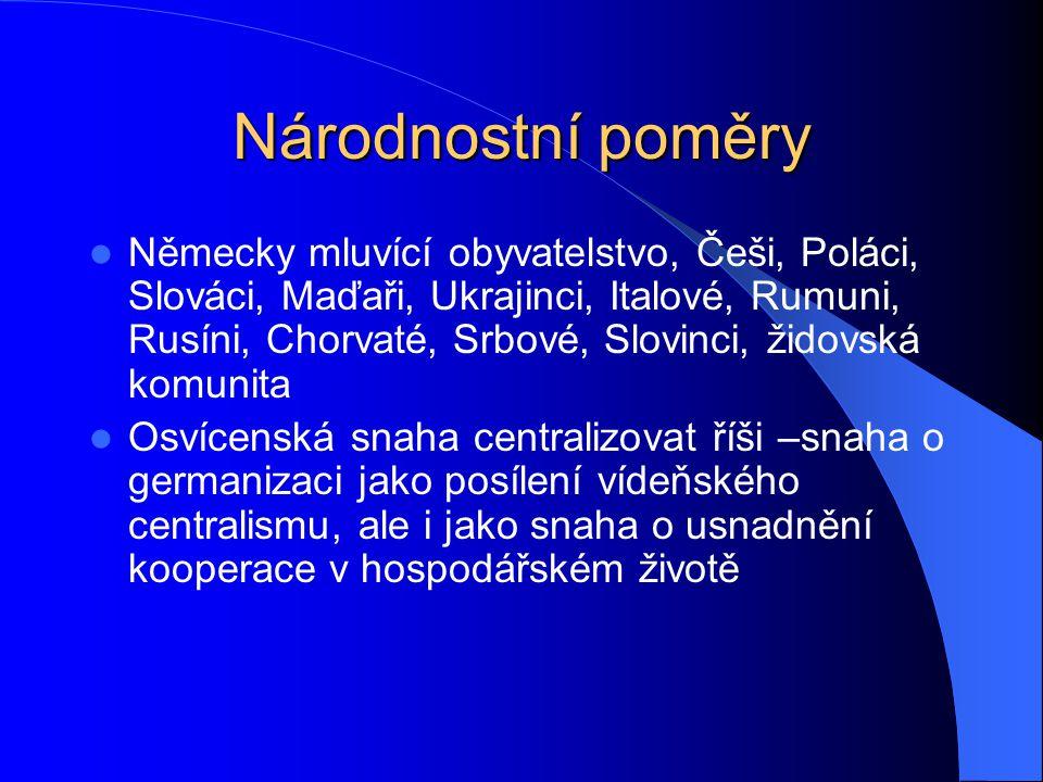 Národnostní poměry Německy mluvící obyvatelstvo, Češi, Poláci, Slováci, Maďaři, Ukrajinci, Italové, Rumuni, Rusíni, Chorvaté, Srbové, Slovinci, židovs