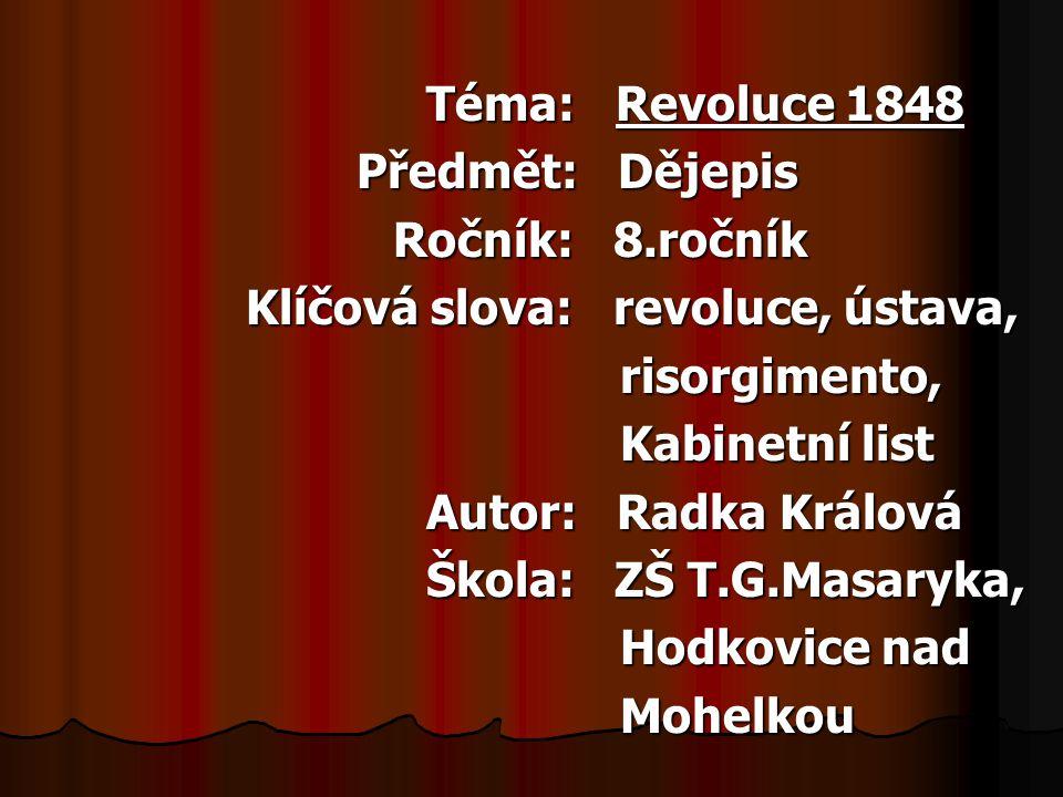 V jaké zemi vypukla revoluce? 1. v Anglii 2. v Itálii 3. ve Francii 10 12345