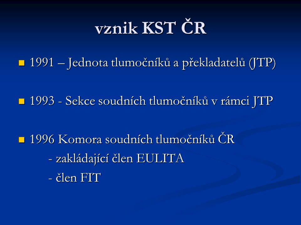 vznik KST ČR 1991 – Jednota tlumočníků a překladatelů (JTP) 1991 – Jednota tlumočníků a překladatelů (JTP) 1993 - Sekce soudních tlumočníků v rámci JT