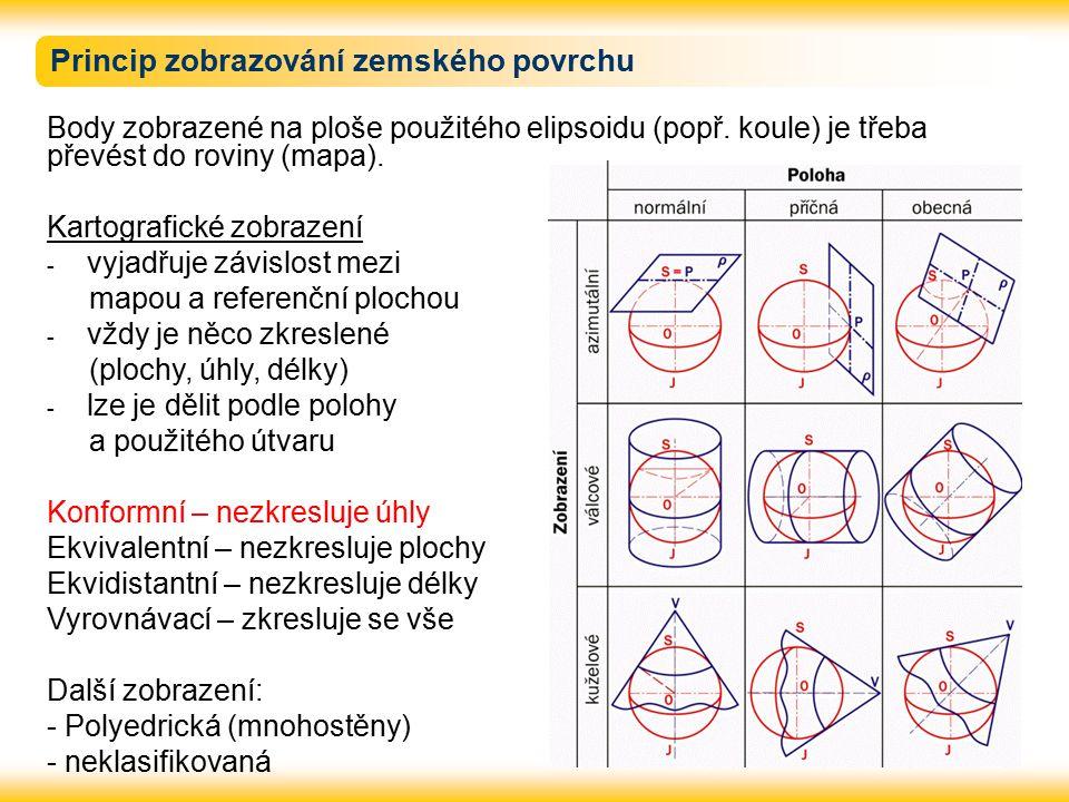 Princip zobrazování zemského povrchu Body zobrazené na ploše použitého elipsoidu (popř. koule) je třeba převést do roviny (mapa). Kartografické zobraz