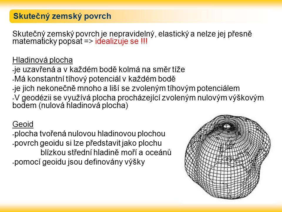 Náhradní plochy Geoid je velmi složité těleso a pro matematické řešení geodetických úloh nevhodné.