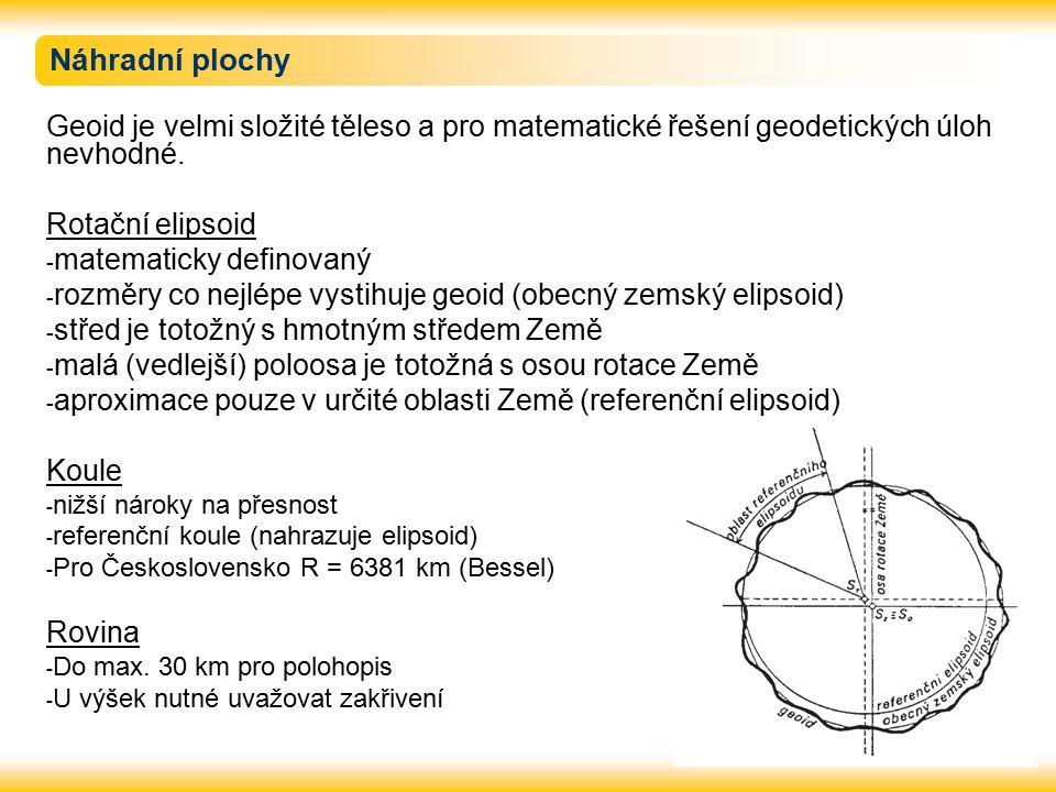 Náhradní plochy Geoid je velmi složité těleso a pro matematické řešení geodetických úloh nevhodné. Rotační elipsoid - matematicky definovaný - rozměry