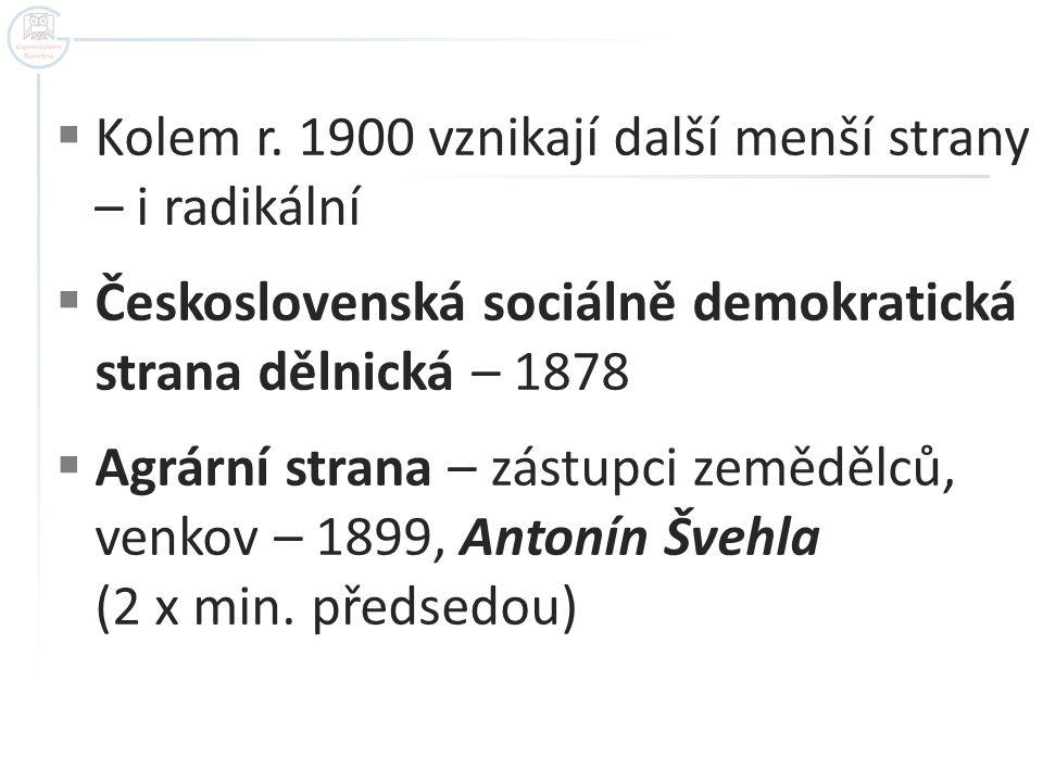  Kolem r. 1900 vznikají další menší strany – i radikální  Československá sociálně demokratická strana dělnická – 1878  Agrární strana – zástupci ze