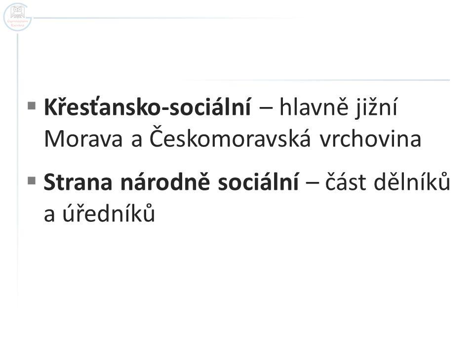  Křesťansko-sociální – hlavně jižní Morava a Českomoravská vrchovina  Strana národně sociální – část dělníků a úředníků