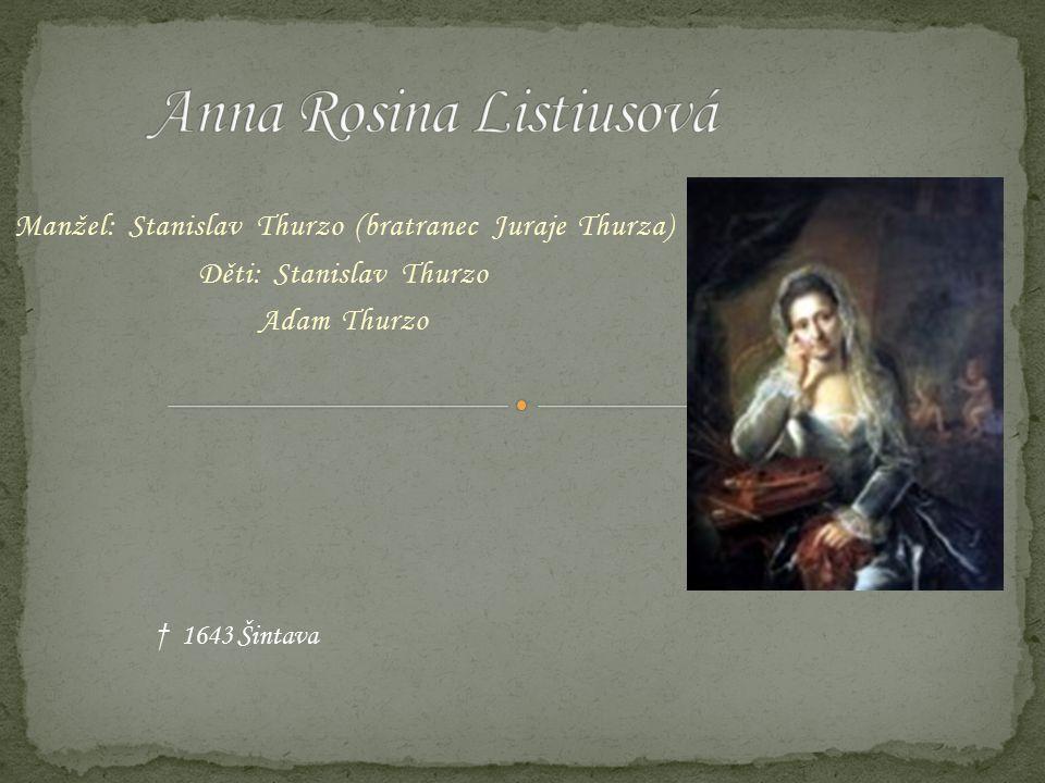 Manžel: Stanislav Thurzo (bratranec Juraje Thurza) Děti: Stanislav Thurzo Adam Thurzo † 1643 Šintava
