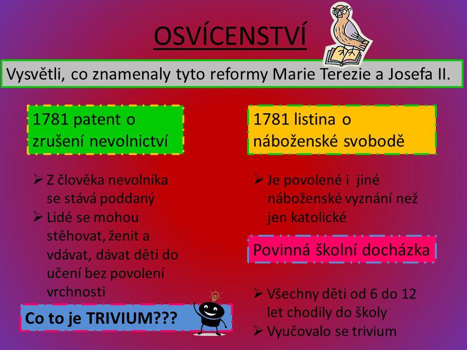OSVÍCENSTVÍ 1781 patent o zrušení nevolnictví Vysvětli, co znamenaly tyto reformy Marie Terezie a Josefa II. 1781 listina o náboženské svobodě  Z člo