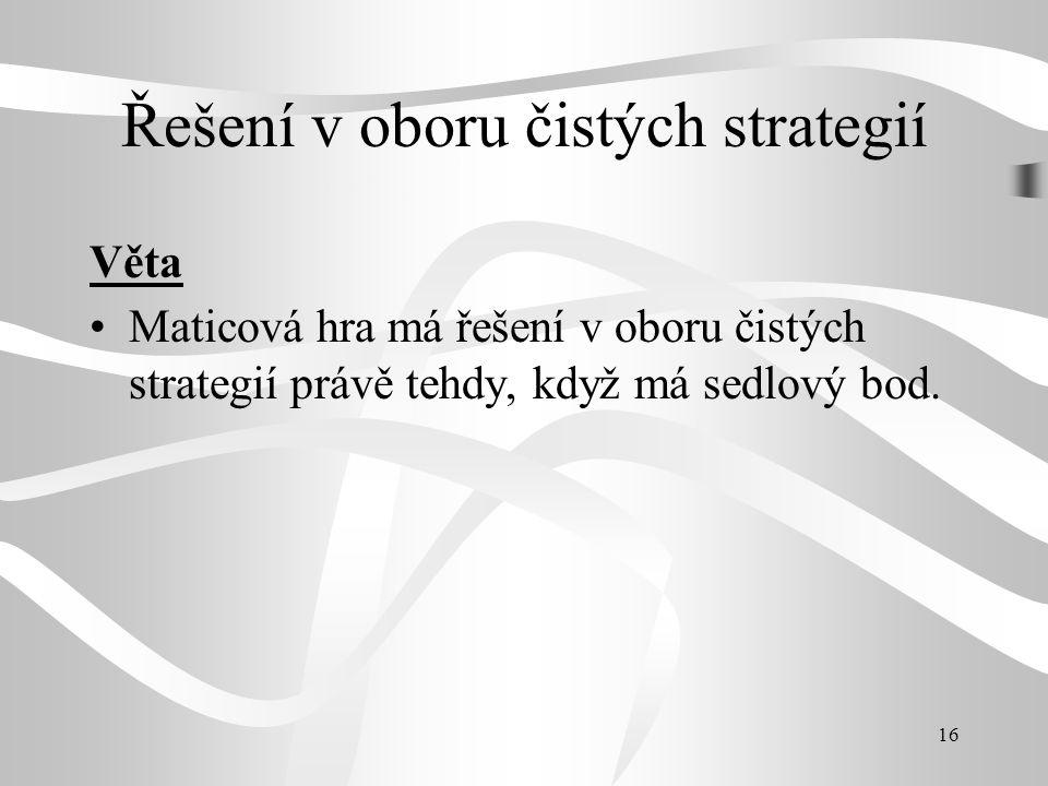 16 Řešení v oboru čistých strategií Věta Maticová hra má řešení v oboru čistých strategií právě tehdy, když má sedlový bod.