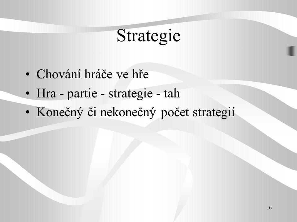 6 Strategie Chování hráče ve hře Hra - partie - strategie - tah Konečný či nekonečný počet strategií