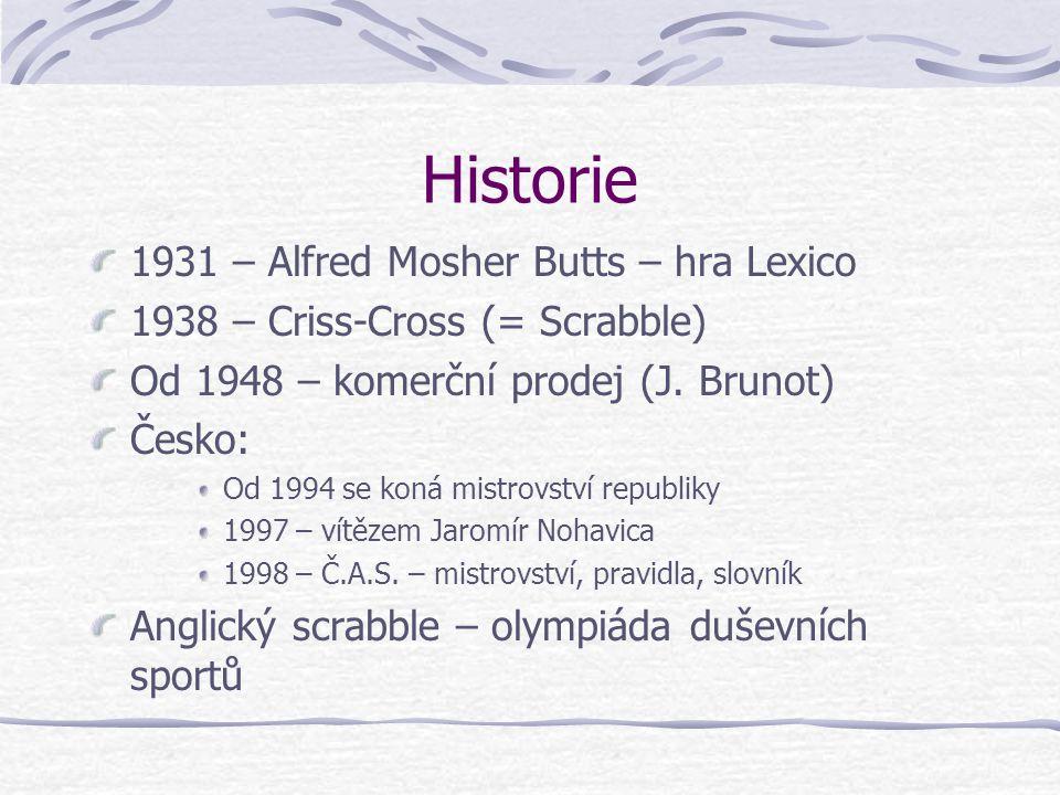 Historie 1931 – Alfred Mosher Butts – hra Lexico 1938 – Criss-Cross (= Scrabble) Od 1948 – komerční prodej (J.