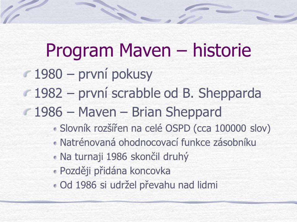 Program Maven – historie 1980 – první pokusy 1982 – první scrabble od B.