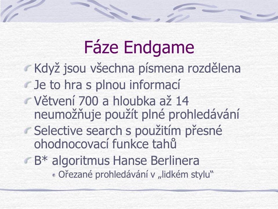 """Fáze Endgame Když jsou všechna písmena rozdělena Je to hra s plnou informací Větvení 700 a hloubka až 14 neumožňuje použít plné prohledávání Selective search s použitím přesné ohodnocovací funkce tahů B* algoritmus Hanse Berlinera Ořezané prohledávání v """"lidkém stylu"""