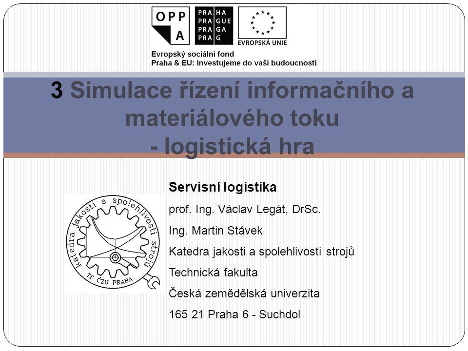 3 Simulace řízení informačního a materiálového toku - logistická hra Servisní logistika prof.
