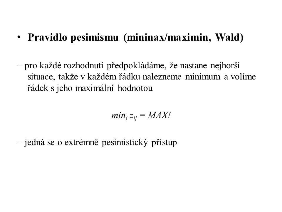 Pravidlo pesimismu (mininax/maximin, Wald) − pro každé rozhodnutí předpokládáme, že nastane nejhorší situace, takže v každém řádku nalezneme minimum a volíme řádek s jeho maximální hodnotou min j z ij = MAX.