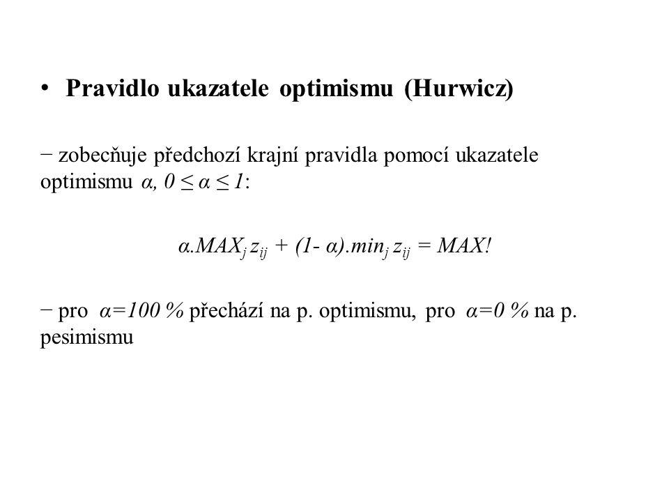 Pravidlo ukazatele optimismu (Hurwicz) − zobecňuje předchozí krajní pravidla pomocí ukazatele optimismu α, 0 ≤ α ≤ 1: α.MAX j z ij + (1- α).min j z ij = MAX.