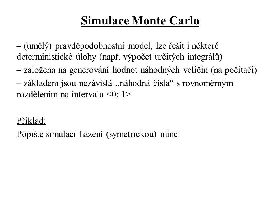 Simulace Monte Carlo – (umělý) pravděpodobnostní model, lze řešit i některé deterministické úlohy (např.