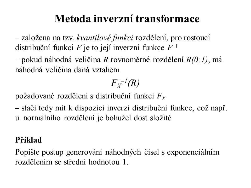 Metoda inverzní transformace – založena na tzv.