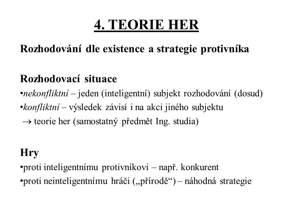 4. TEORIE HER Rozhodování dle existence a strategie protivníka Rozhodovací situace nekonfliktní – jeden (inteligentní) subjekt rozhodování (dosud) kon