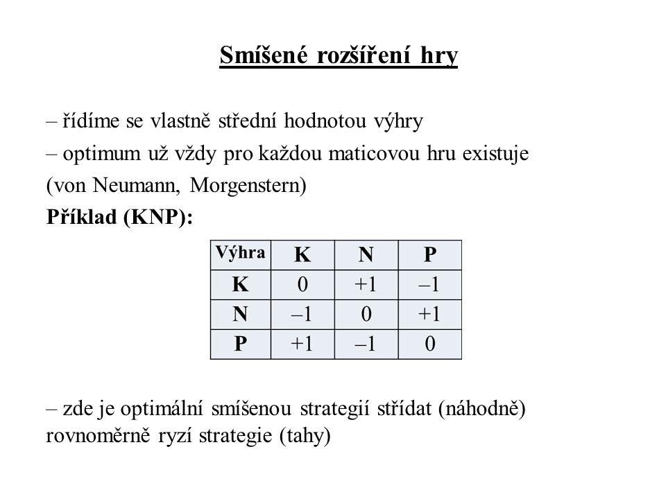 Smíšené rozšíření hry – řídíme se vlastně střední hodnotou výhry – optimum už vždy pro každou maticovou hru existuje (von Neumann, Morgenstern) Příklad (KNP): – zde je optimální smíšenou strategií střídat (náhodně) rovnoměrně ryzí strategie (tahy)