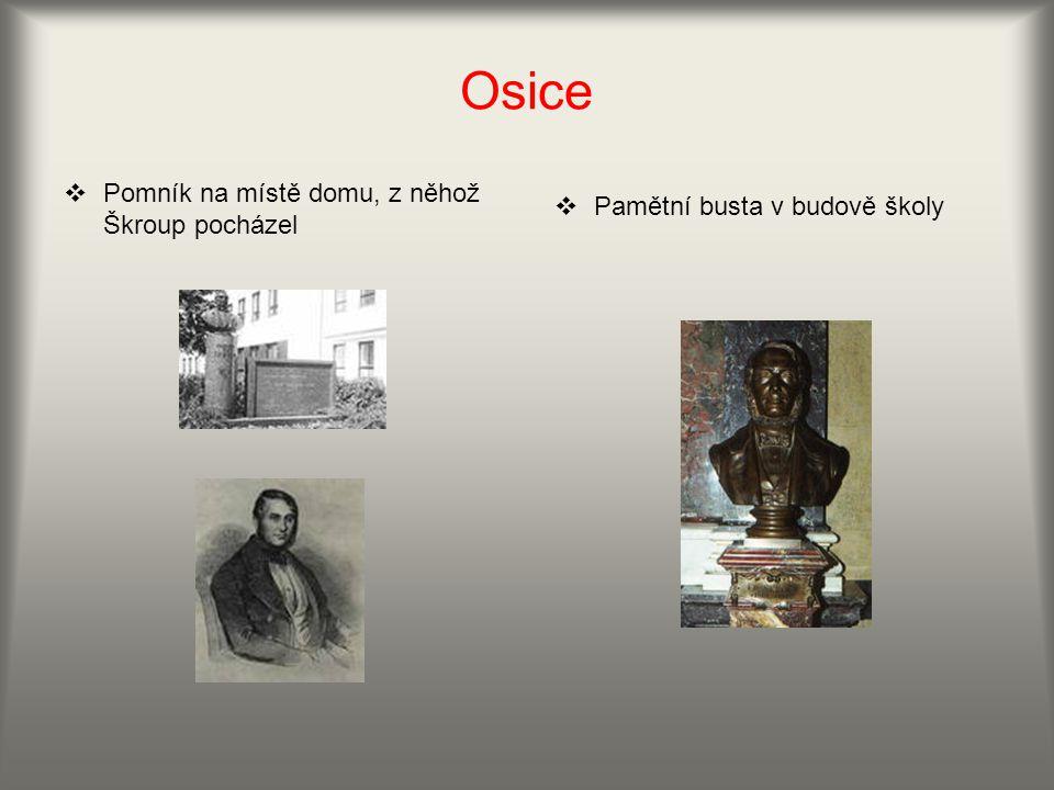 Osice  Pomník na místě domu, z něhož Škroup pocházel  Pamětní busta v budově školy