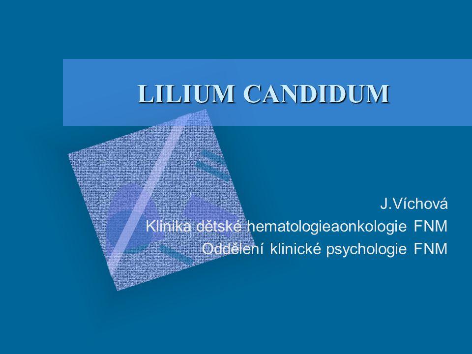 LILIUM CANDIDUM J.Víchová Klinika dětské hematologieaonkologie FNM Oddělení klinické psychologie FNM