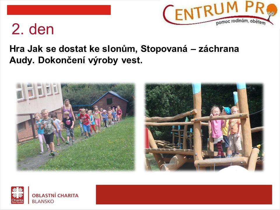 Hra Jak se dostat ke slonům, Stopovaná – záchrana Audy. Dokončení výroby vest. 2. den