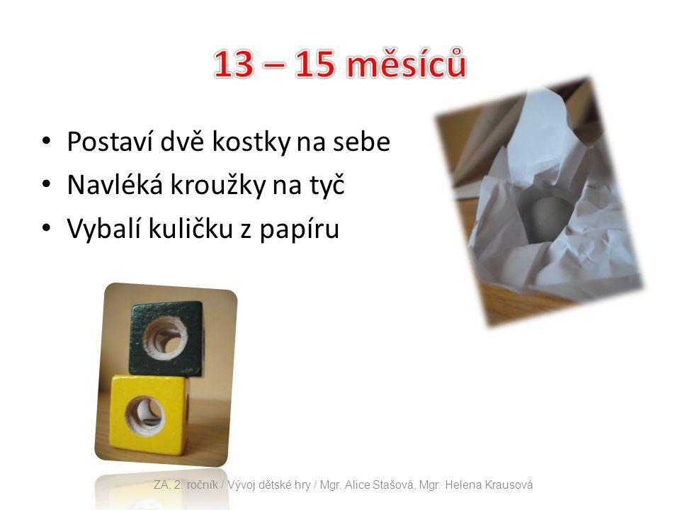 Postaví dvě kostky na sebe Navléká kroužky na tyč Vybalí kuličku z papíru ZA, 2. ročník / Vývoj dětské hry / Mgr. Alice Stašová, Mgr. Helena Krausová