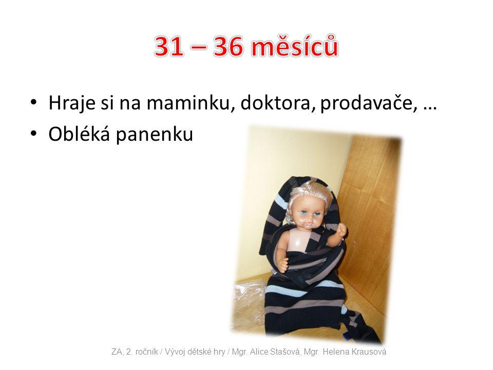 Hraje si na maminku, doktora, prodavače, … Obléká panenku ZA, 2. ročník / Vývoj dětské hry / Mgr. Alice Stašová, Mgr. Helena Krausová