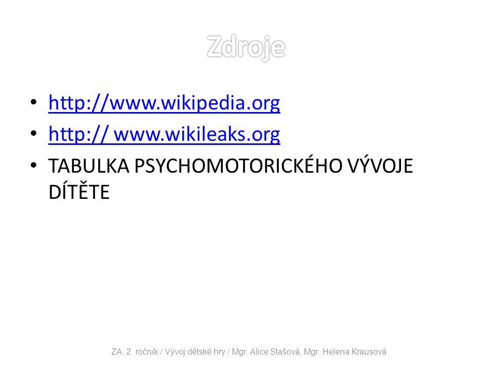 http://www.wikipedia.org http:// www.wikileaks.org http:// www.wikileaks.org TABULKA PSYCHOMOTORICKÉHO VÝVOJE DÍTĚTE ZA, 2. ročník / Vývoj dětské hry