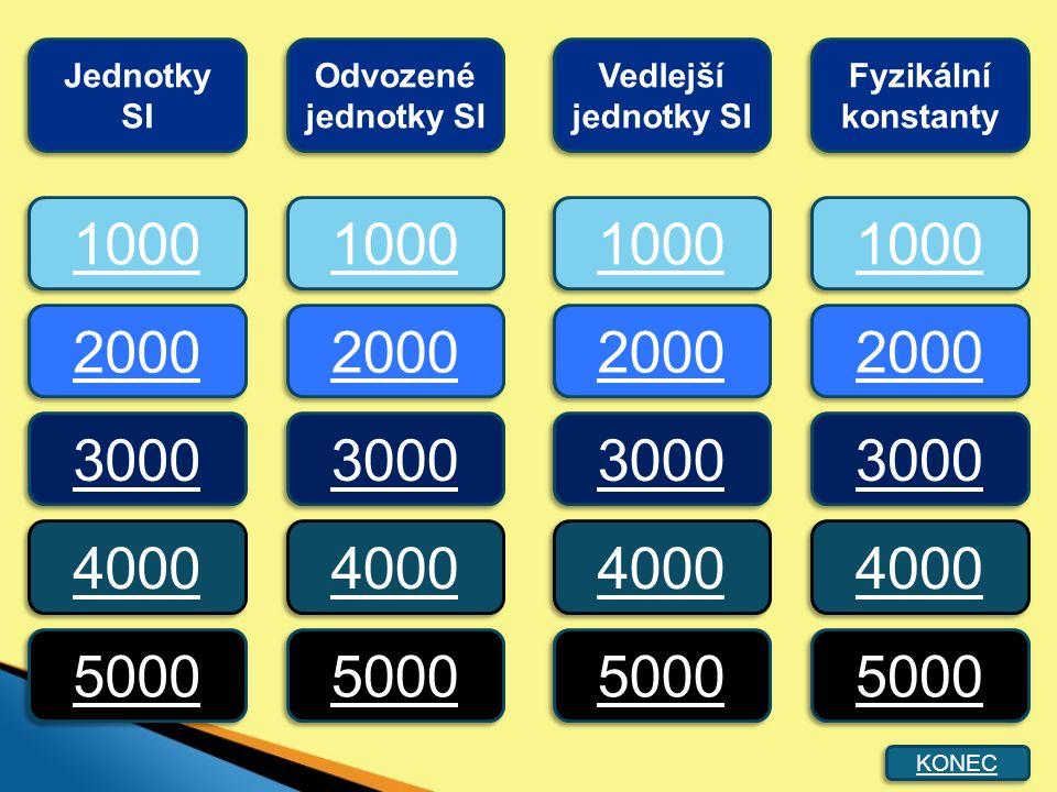 1000 2000 3000 4000 5000 1000 2000 3000 4000 5000 Jednotky SI Odvozené jednotky SI Vedlejší jednotky SI Fyzikální konstanty KONEC
