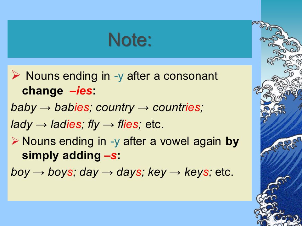 Note:  Nouns ending in -y after a consonant change –ies: baby → babies; country → countries; lady → ladies; fly → flies; etc.  Nouns ending in -y af