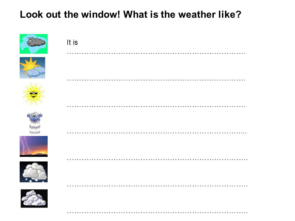 Look out the window.What is the weather like. It is ……………………………………………………………….