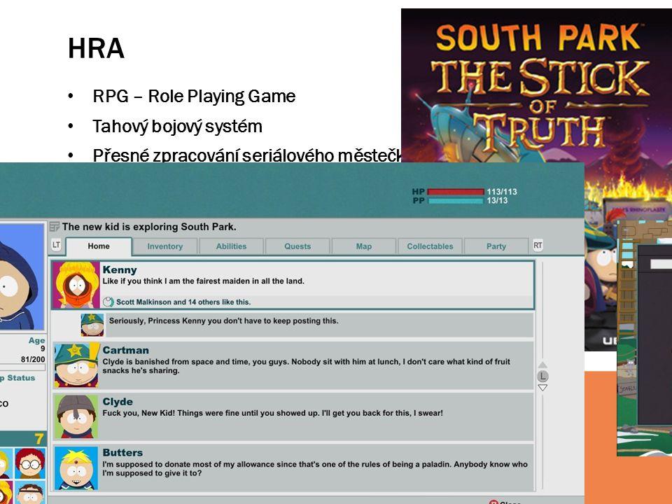 HRA RPG – Role Playing Game Tahový bojový systém Přesné zpracování seriálového městečka a dalších lokací Velké množství vedlejších postav ze seriálu V