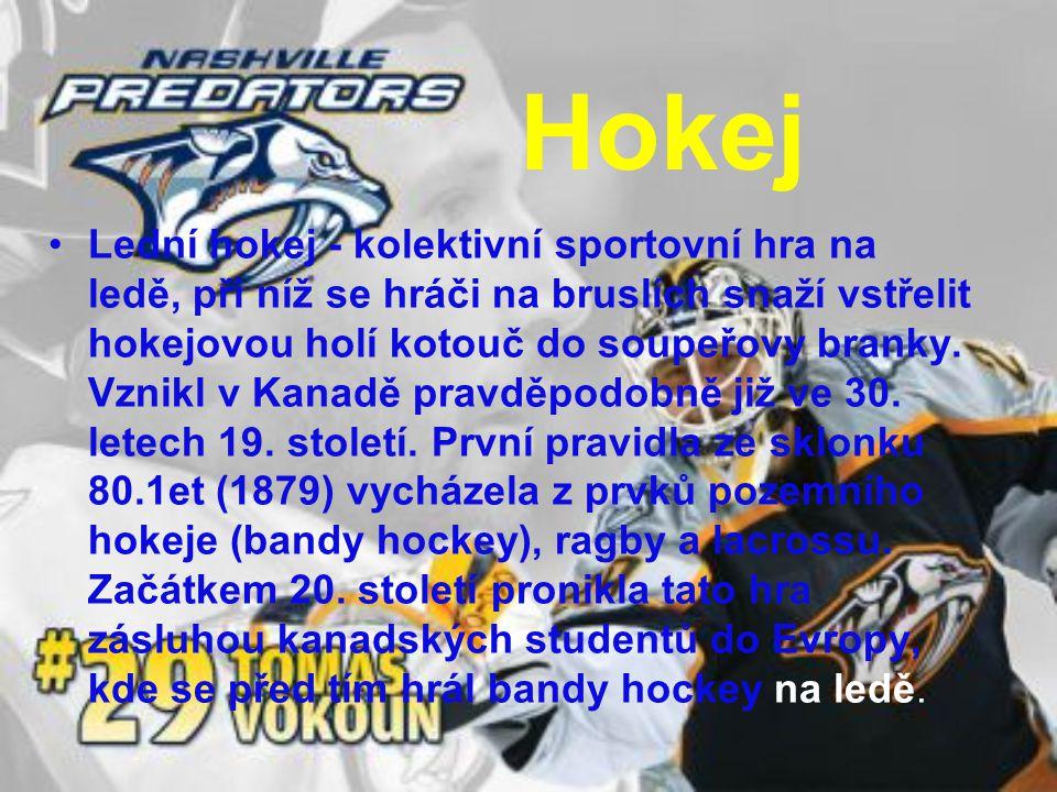 Hokej Lední hokej - kolektivní sportovní hra na ledě, při níž se hráči na bruslích snaží vstřelit hokejovou holí kotouč do soupeřovy branky. Vznikl v