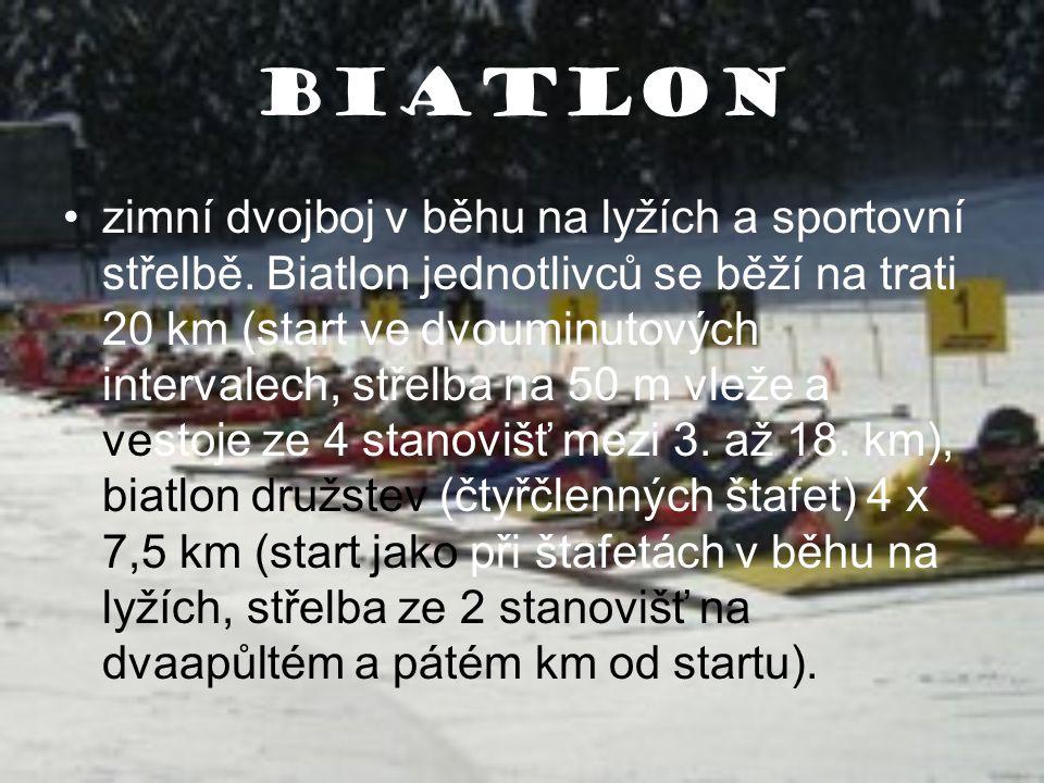 Biatlon zimní dvojboj v běhu na lyžích a sportovní střelbě. Biatlon jednotlivců se běží na trati 20 km (start ve dvouminutových intervalech, střelba n