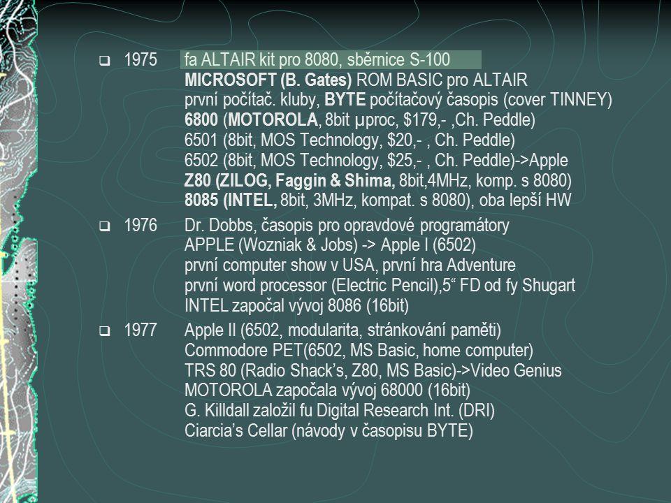  1975fa ALTAIR kit pro 8080, sběrnice S-100 MICROSOFT (B. Gates) ROM BASIC pro ALTAIR první počítač. kluby, BYTE počítačový časopis (cover TINNEY) 68
