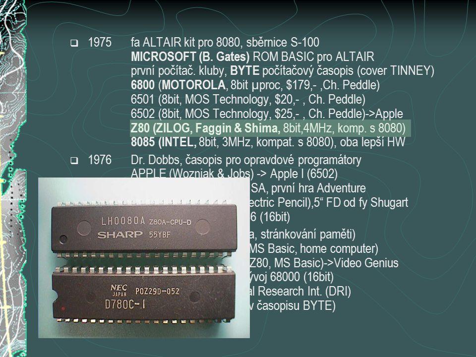  1975fa ALTAIR kit pro 8080, sběrnice S-100 MICROSOFT (B.