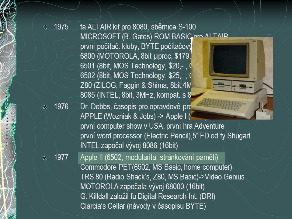 1975fa ALTAIR kit pro 8080, sběrnice S-100 MICROSOFT (B. Gates) ROM BASIC pro ALTAIR první počítač. kluby, BYTE počítačový časopis (cover TINNEY) 6800