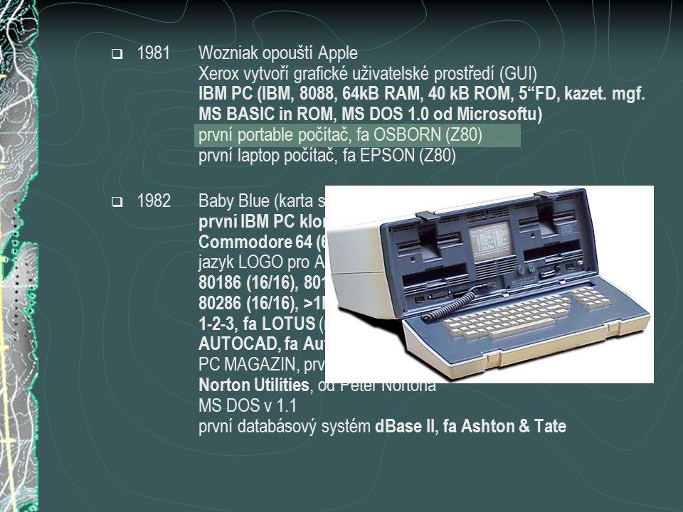 """ 1981Wozniak opouští Apple Xerox vytvoří grafické uživatelské prostředí (GUI) IBM PC (IBM, 8088, 64kB RAM, 40 kB ROM, 5""""FD, kazet. mgf. MS BASIC in R"""