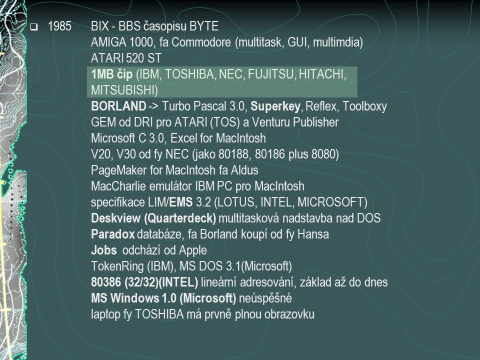  1985BIX - BBS časopisu BYTE AMIGA 1000, fa Commodore (multitask, GUI, multimdia) ATARI 520 ST 1MB čip (IBM, TOSHIBA, NEC, FUJITSU, HITACHI, MITSUBISHI) BORLAND -> Turbo Pascal 3.0, Superkey, Reflex, Toolboxy GEM od DRI pro ATARI (TOS) a Venturu Publisher Microsoft C 3.0, Excel for MacIntosh V20, V30 od fy NEC (jako 80188, 80186 plus 8080) PageMaker for MacIntosh fa Aldus MacCharlie emulátor IBM PC pro MacIntosh specifikace LIM/ EMS 3.2 (LOTUS, INTEL, MICROSOFT) Deskview (Quarterdeck) multitasková nadstavba nad DOS Paradox databáze, fa Borland koupí od fy Hansa Jobs odchází od Apple TokenRing (IBM), MS DOS 3.1(Microsoft) 80386 (32/32)(INTEL) lineární adresování, základ až do dnes MS Windows 1.0 (Microsoft) neúspěšné laptop fy TOSHIBA má prvně plnou obrazovku