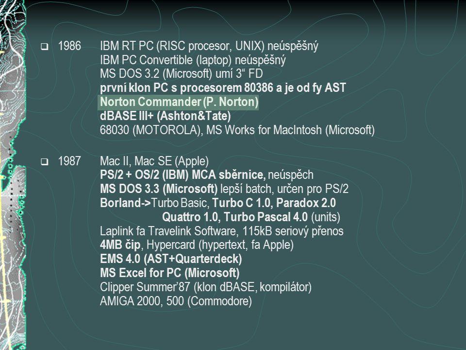  1986IBM RT PC (RISC procesor, UNIX) neúspěšný IBM PC Convertible (laptop) neúspěšný MS DOS 3.2 (Microsoft) umí 3 FD první klon PC s procesorem 80386 a je od fy AST Norton Commander (P.