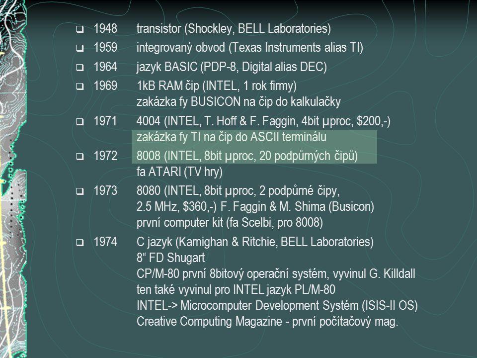  1981Wozniak opouští Apple Xerox vytvoří grafické uživatelské prostředí (GUI) IBM PC (IBM, 8088, 64kB RAM, 40 kB ROM, 5 FD, kazet.