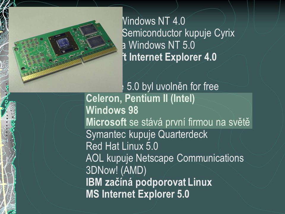  1997SP3 for Windows NT 4.0 National Semiconductor kupuje Cyrix první beta Windows NT 5.0 Microsoft Internet Explorer 4.0  1998Netscape 5.0 byl uvol