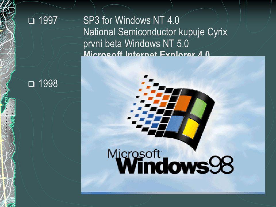  1997SP3 for Windows NT 4.0 National Semiconductor kupuje Cyrix první beta Windows NT 5.0 Microsoft Internet Explorer 4.0  1998Netscape 5.0 byl uvolněn for free Celeron, Pentium II (Intel) Windows 98 Microsoft se stává první firmou na světě Symantec kupuje Quarterdeck Red Hat Linux 5.0 AOL kupuje Netscape Communications 3DNow.