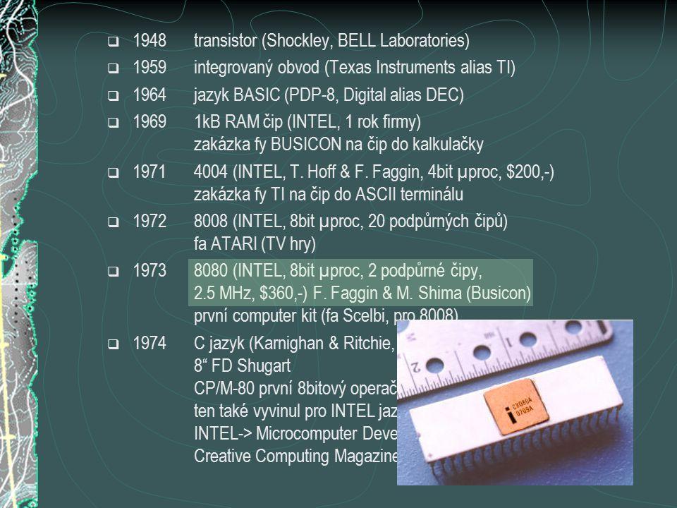  1999 Pentium III (Intel), K7 (AMD) Windows 2000 + Office 2000(MS)  2000frekvence 1 GHz Intel / AMD běžné disky IDE > 20GB  2001 Pentium 4 (Intel) Windows XP + Office XP (MS)  2002frekvence 2GHz Intel běžné disky IDE > 40GB  2003 Bluetooth, WiFi přechod na 64bit (Intel I AMD) Windows 2003 Server