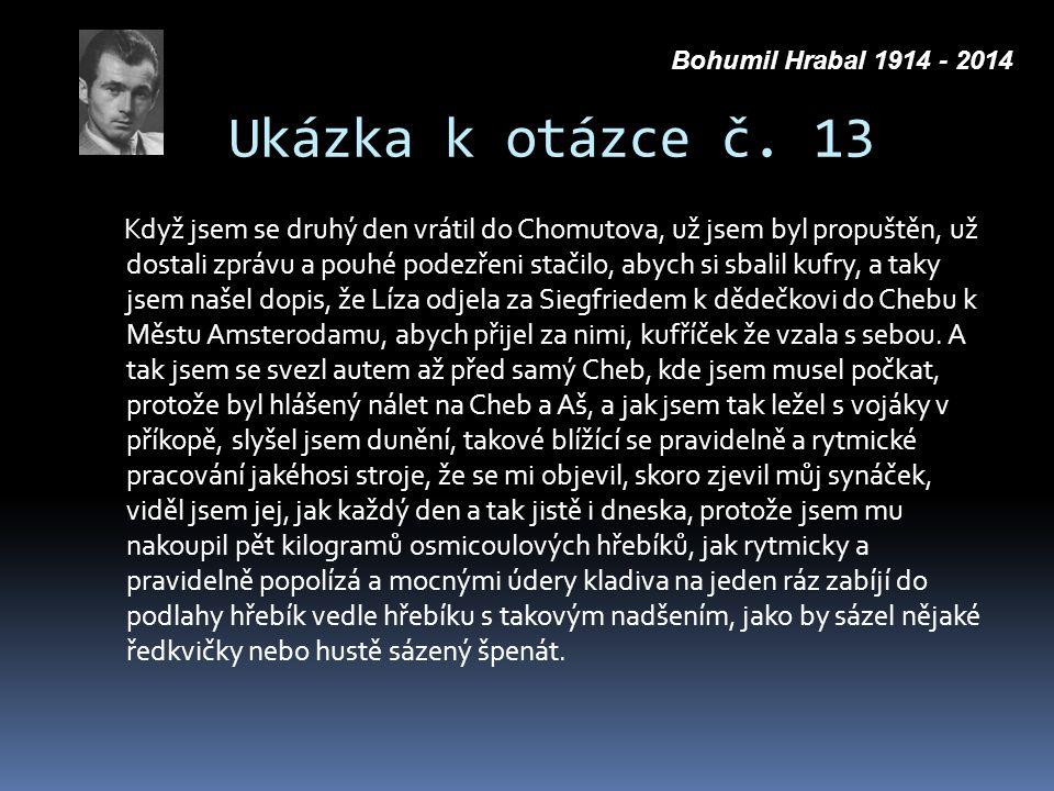 Ukázka k otázce č. 13 Když jsem se druhý den vrátil do Chomutova, už jsem byl propuštěn, už dostali zprávu a pouhé podezřeni stačilo, abych si sbalil
